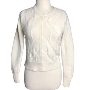 Madewell Cream Merino Wool Cable Knit Sweater